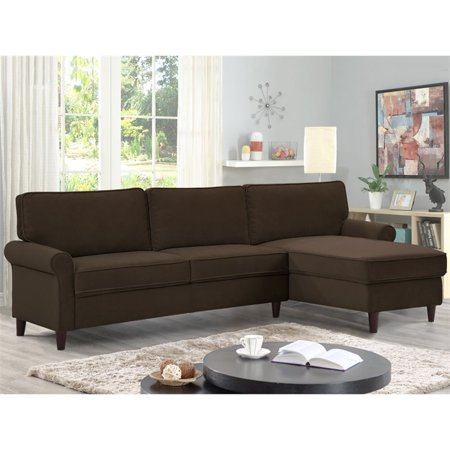 LifeStyle Solutions Arnina Sectional Sofa Set in Chocolate Media Dark Brown Sectional Sofa
