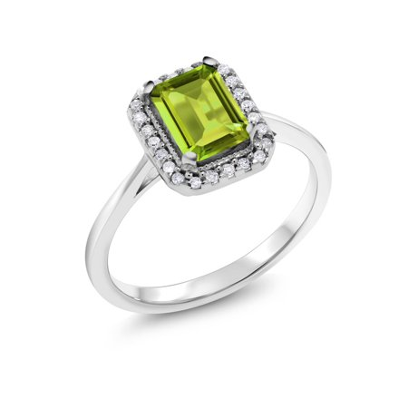1.15 Ct Emerald Cut Green Peridot White Diamond 10K White Gold Ring 10k White Gold Green