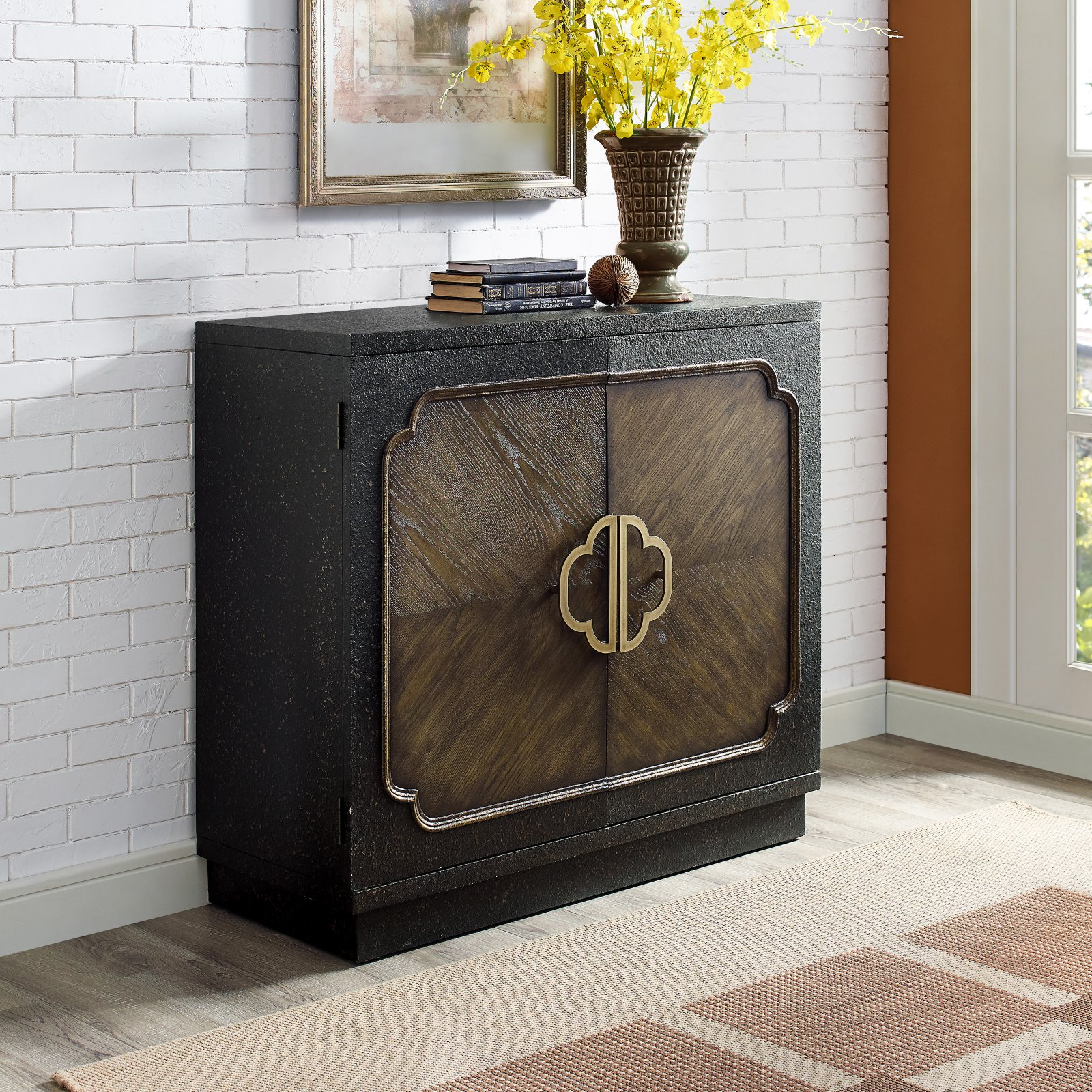 Traditional Heavily Distressed Chocolate Two Door Accent Cabinet