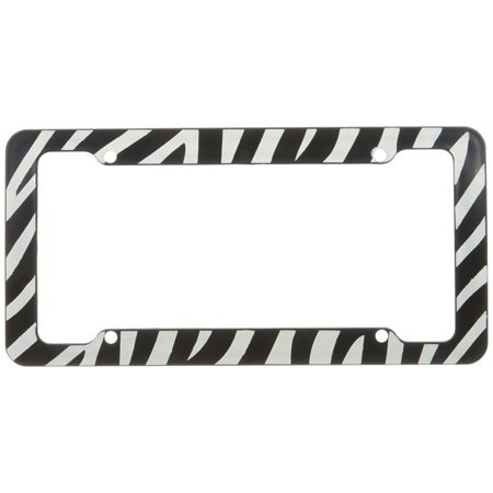 U.A.A. Inc. Black & White Zebra Plastic License Plate Frame - 1 ...