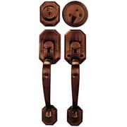 Constructor Cerberus Entry Door Lock Lever Handle Set with Deadbolt Single Cylinder Antique Copper Finish