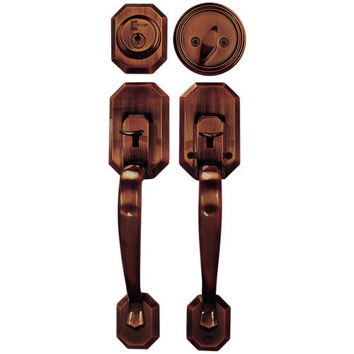 Constructor Cerberus Entry Door Lock Lever Handle Set with Deadbolt Single Cylinder Antique Copper Finish