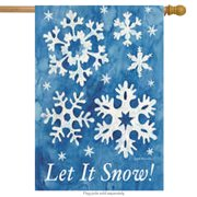 """Let It Snow! Winter House Flag Decorative Snowflakes Large Yard Banner 28"""" x 40"""""""