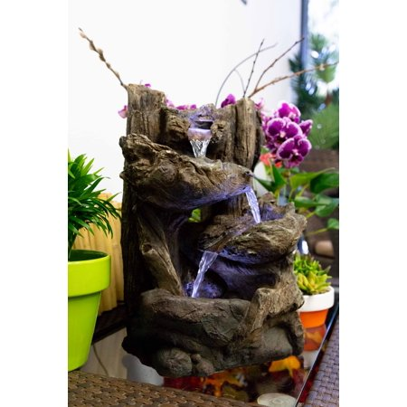 Alpine Five Tier Rainforest Fountain with LED Lights, 14 Inch Tall (Party Fountain)