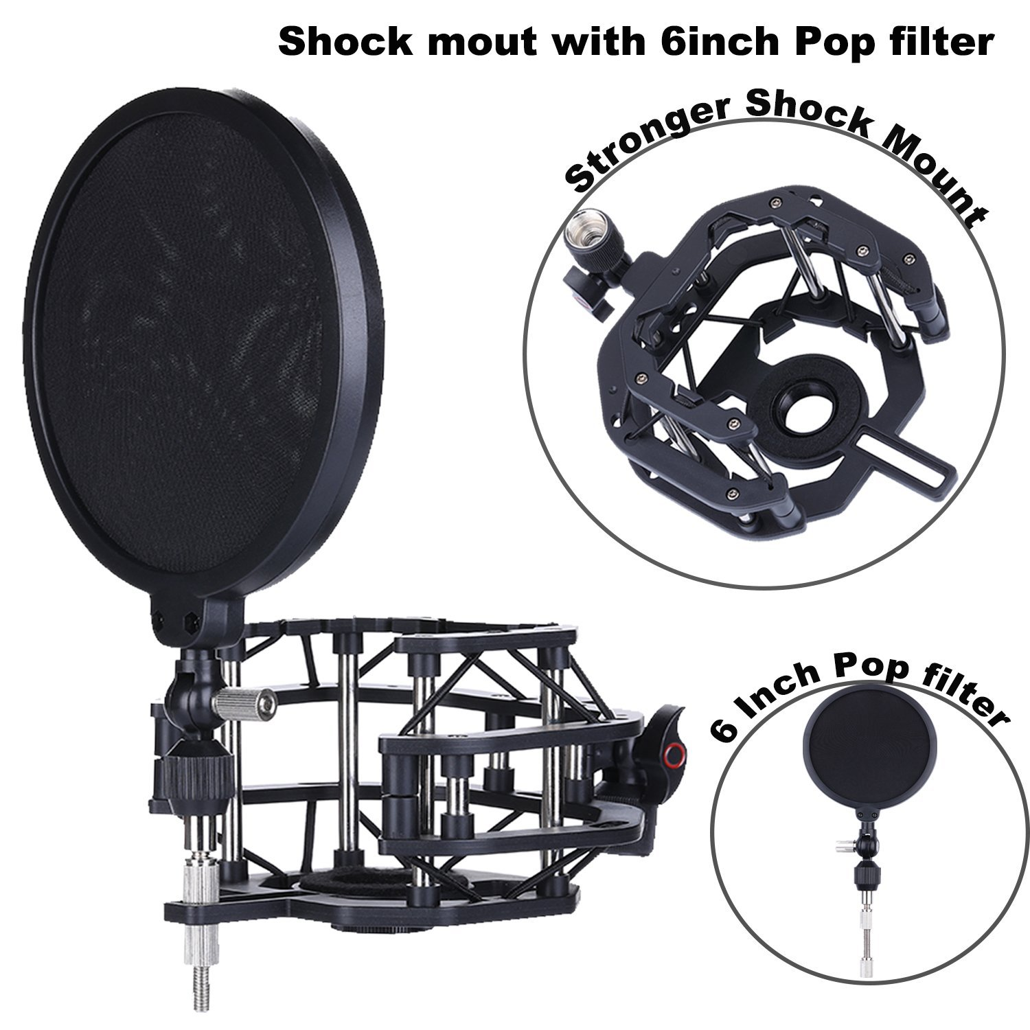 Microphone Shock Mount with Pop Filter Mic Windscreen Shield for Studio Radio Broadcasting... by