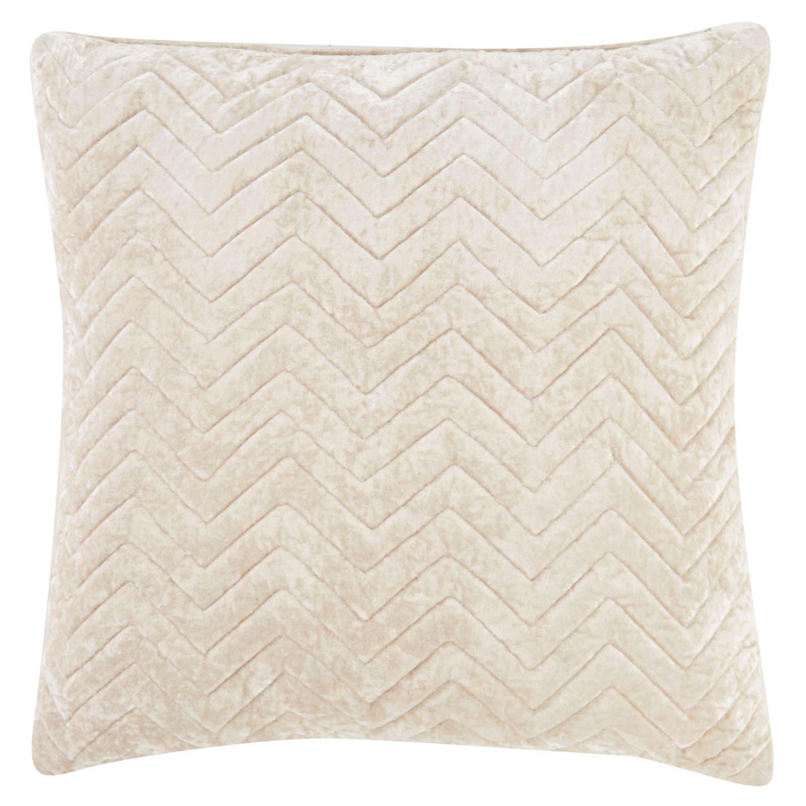 Nikki Chu by Jaipur Quilted Chevron Viscose Decorative Pillow - Beige
