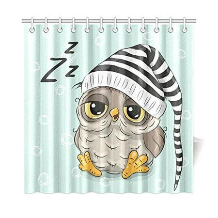 MKHERT Sleeping Cute Owl Shower Curtain Home Decor Bathroom 66x72 Inch