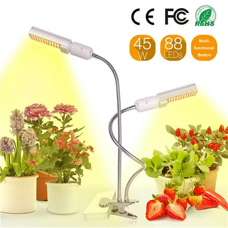 LED Grow Light for Indoor Plant Sun-like Full Spectrum Plant Grow LED Bulb E26/27 45W Timer Function Dual-head Gooseneck Strong Clip Replaceable Bulbs for Houseplants Orchids Crops Succulent Plant (Best Grow Lights For Orchids)
