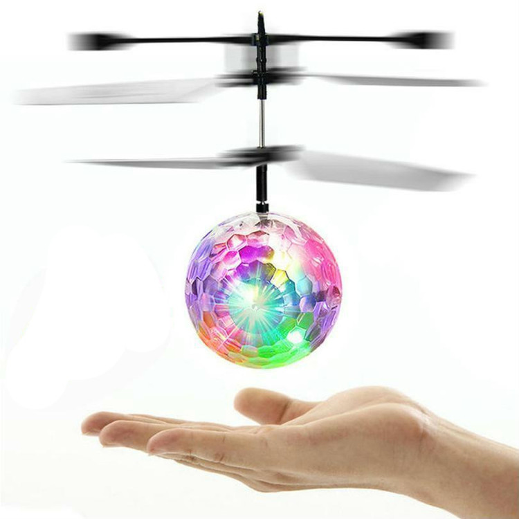 RC Toy, RC Flying Ball, Mini RC infrared Induction Drone Hand Suspension Helicopter Flying Balls Built-in Shinning LED Lighting for Kids, Teenagers Colorful Flyings for Kid's Toy (Crystal ball)