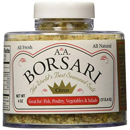 Borsari Citrus Seasoned Salt for Chicken, Fish, and Vegetables - Great for Grilling, Keto Friendly, No Carbs, No MSG, All Natural - 4 oz Shaker (Friends Salt)