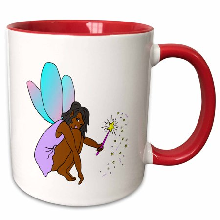 (3dRose Print of African American Fairy With Wand - Two Tone Red Mug, 11-ounce)