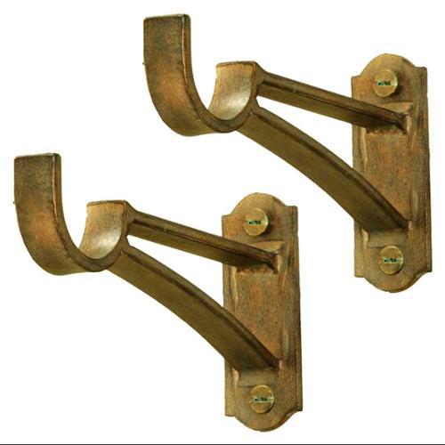 1 1/4 in. Drapery Bracket - Basic Double Bar - Set of 2 (Bronze)
