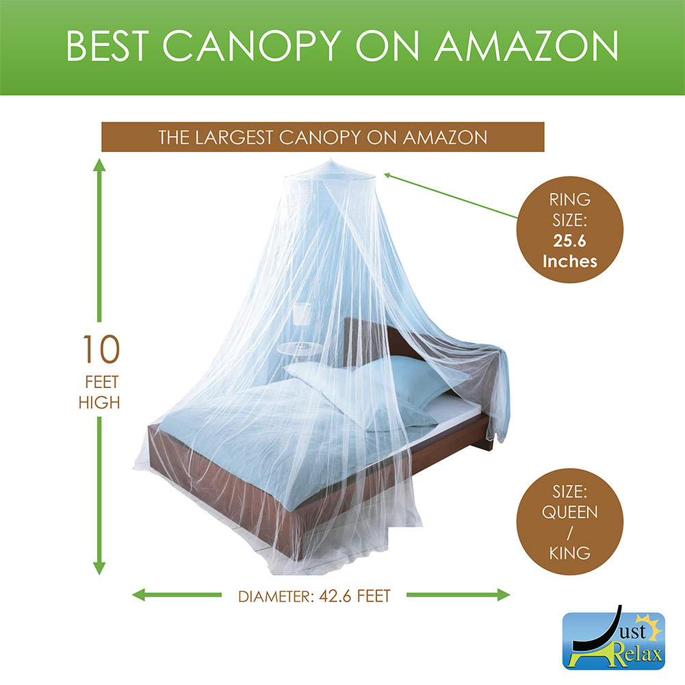 Just Relax Elegant Mosquito Net Bed Canopy Set White Queen-King - Walmart.com  sc 1 st  Walmart & Just Relax Elegant Mosquito Net Bed Canopy Set White Queen-King ...