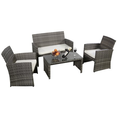 costway 4 pc rattan patio furniture set garden lawn sofa cushioned seat mix gray wicker - Garden Furniture 4 U Ltd