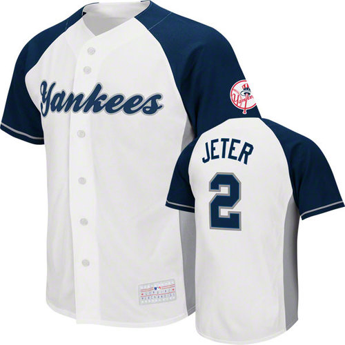 MLB - Derek Jeter Jersey: Adult MLB Genuine Collection White/Navy #2 New York Yankees Jersey