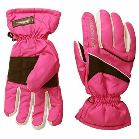 London Fog Girls Thinsulate Lined Waterproof Ski Gloves Pink 4-6X Pink Ski Gloves