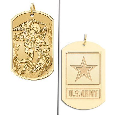 Saint Michael Doubledside ARMY Dogtag Religious Medal - 2/3 Inch X 1 Inch - Solid 14K Yellow -