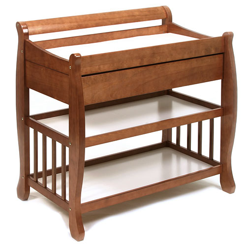 Tuscany Solid Wood Sleigh 2 Shelf Cognac Finish Changing Table W/Drawer