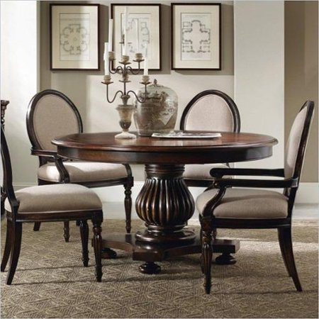 round pedestal dining table in dark cherry with 20 leaf