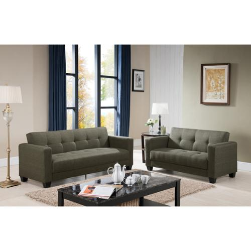 Carly Contemporary 2-piece Fabric Sofa and Loveseat Set Beige Fabric Sofa and Loveseat Set
