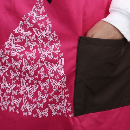 Home Butterfly Pattern Front Patch Pocket Adjustable Cooking Apron Bib Fuchsia - image 1 of 3