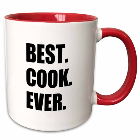 3dRose Best Cook Ever - text gifts for worlds greatest chef and cooking fans - Two Tone Red Mug,