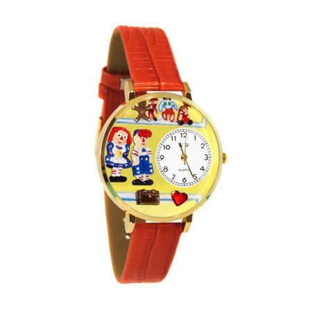 Whimsical Raggedy Ann; Andy Navy Blue Leather And Goldtone Watch