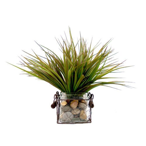 Creative Displays, Inc. Spring Additions Vanilla Grass in Round Wire Basket Planter