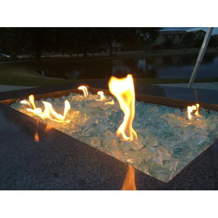 Crystal Teal Fire Pit Glass Rocks, 1/2
