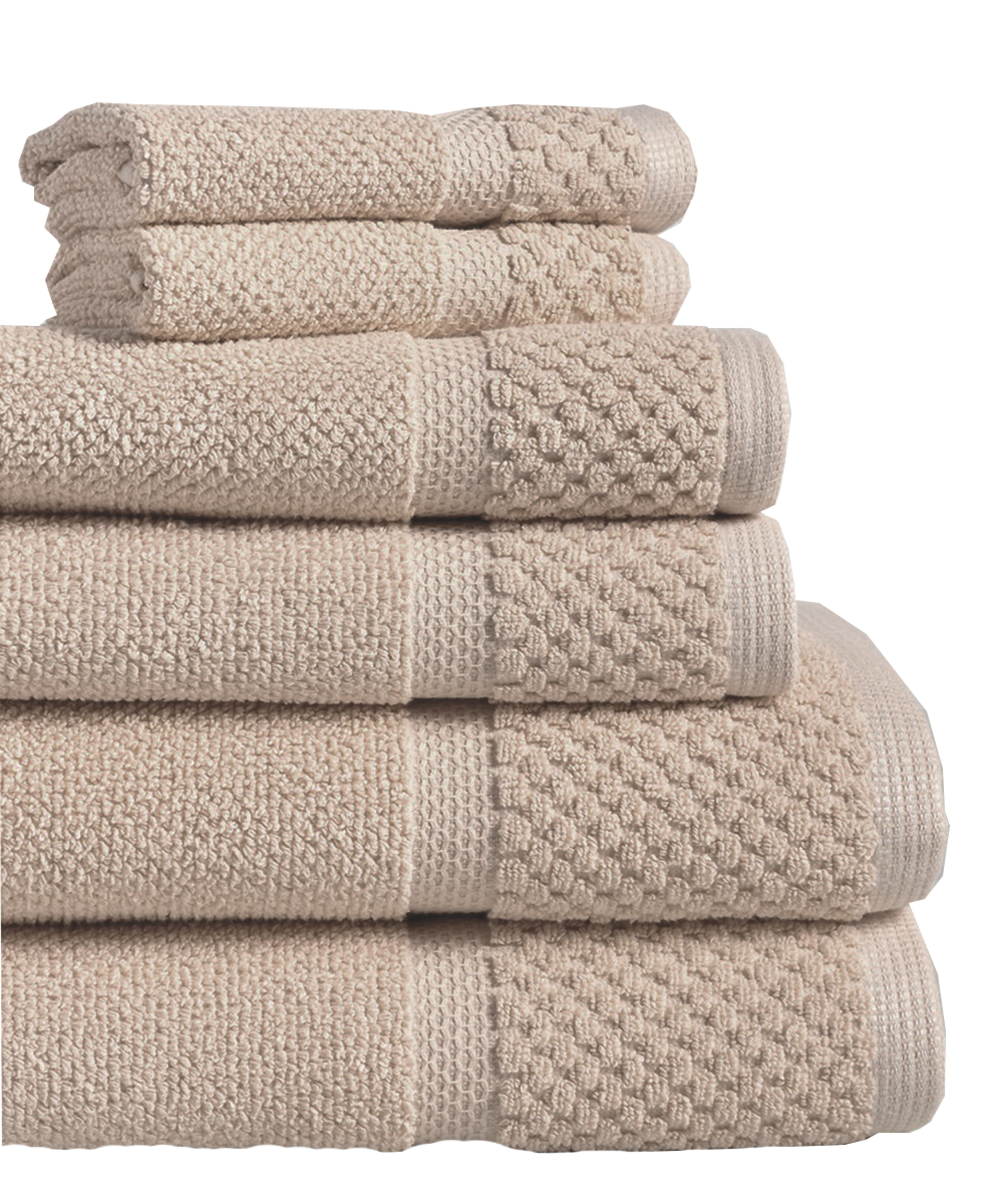Diplomat 6-Piece 100% Cotton Bath Towel Set, Spa Blue by Lintex Linens