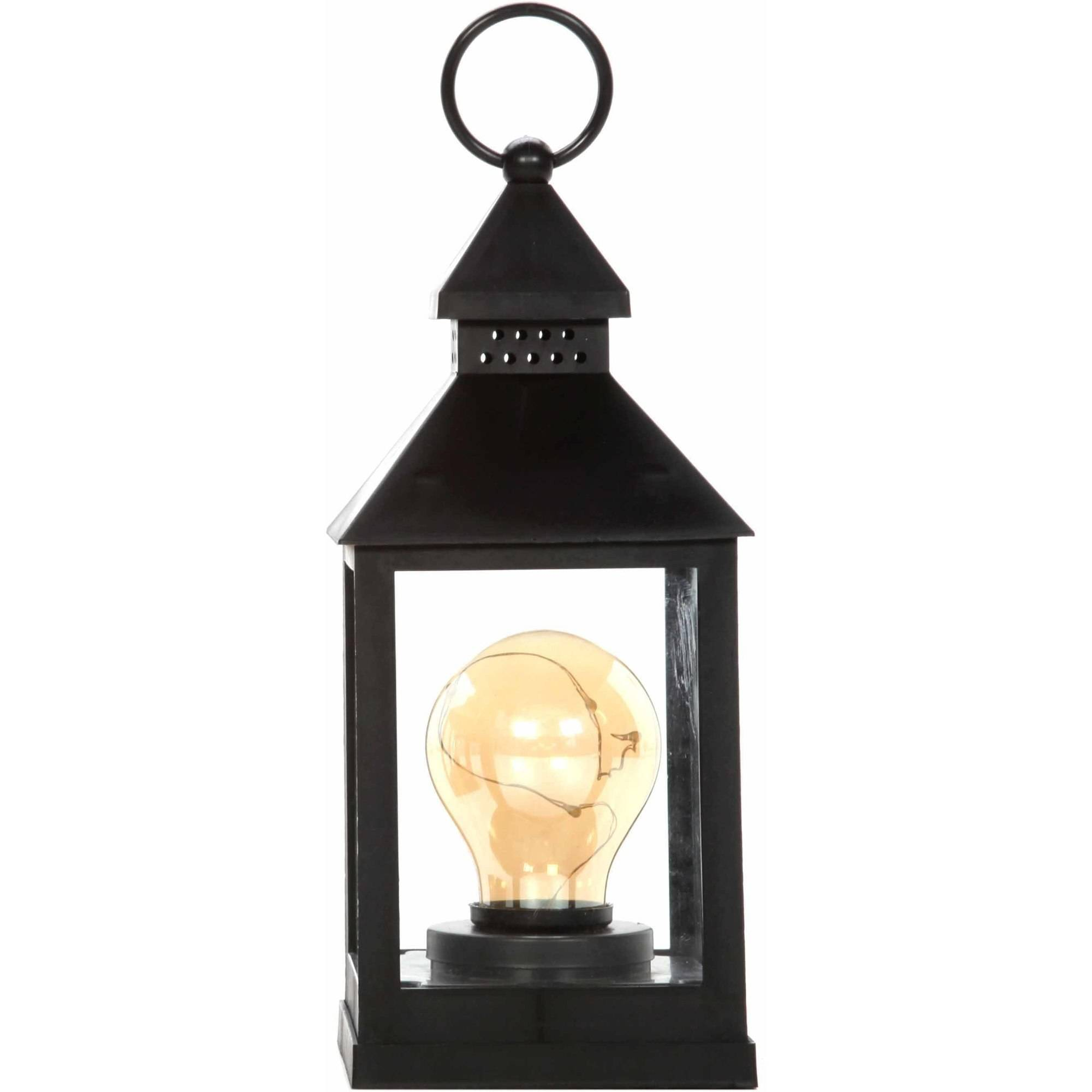 "Mainstays 9.5""H Round Bulb LED Lantern, Black"