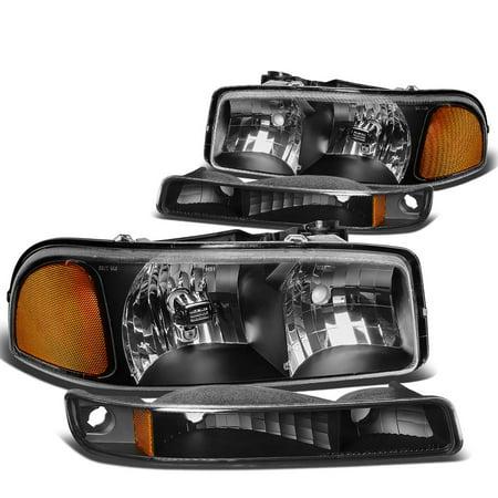For 99-07 GMC Sierra/Yukon GMT800 Black Housing Headlight+Amber Corner Bumper Light 00 01 02 03 04 05