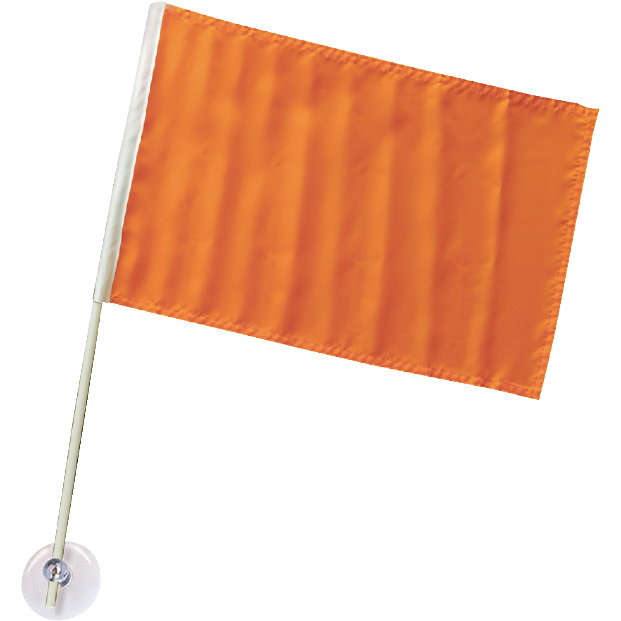 "Seachoice 12"" x 18"" Orange Nylon Ski Flag on 24"" Plastic Pole with Suction Cups"