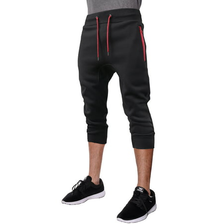 - Mens Capri Fleece Joggers with Zipper Pockets Athletic Workout Casual Short Pants
