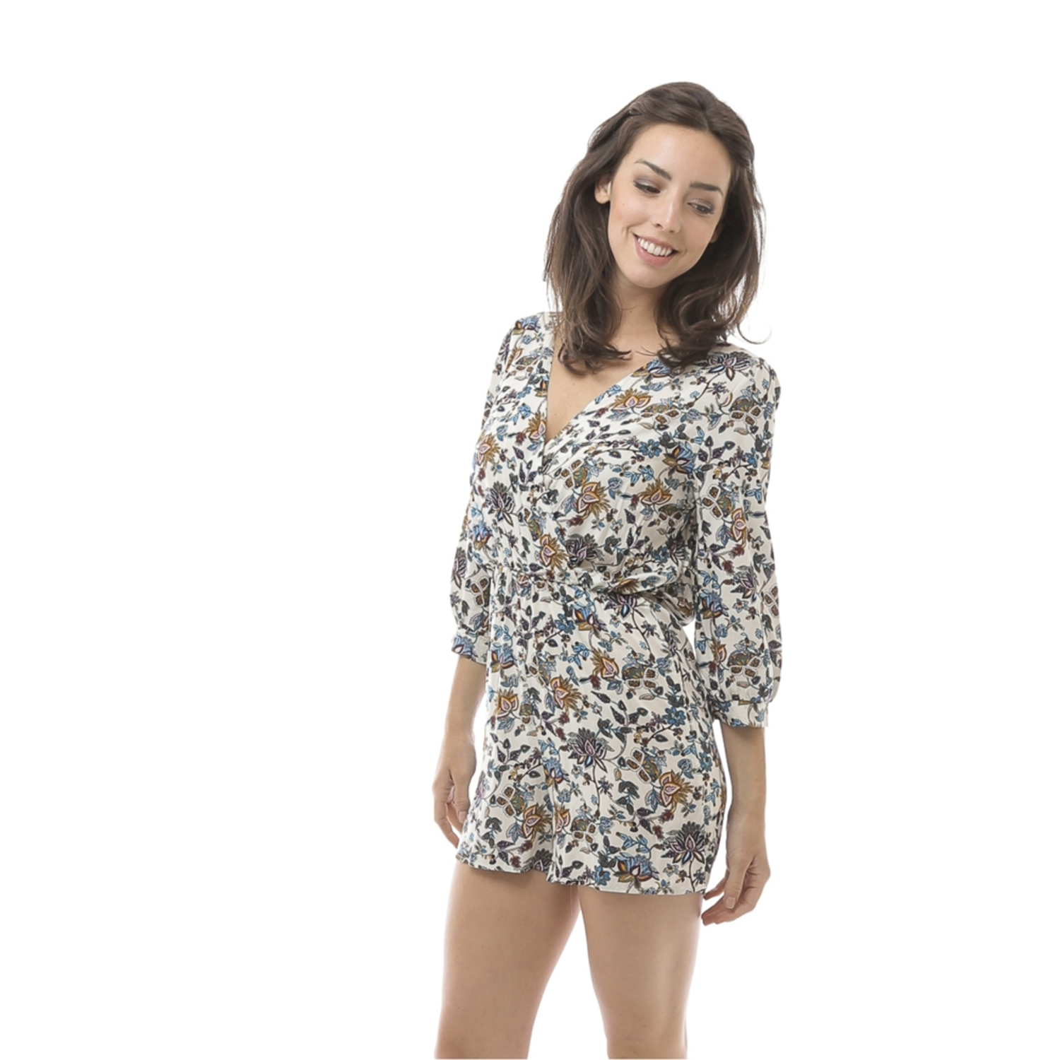 Women 3/4 Sleeve Floral Print Short Romper Size Medium (M) - Colorful