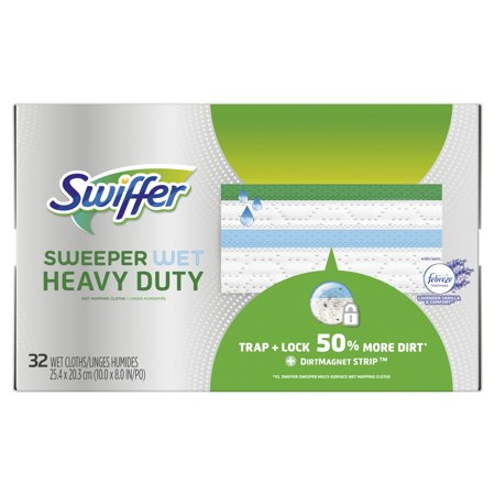 Swiffer Sweeper Heavy Duty Wet Mopping Cloths Multi Surface Refills, Lavender Scent, 32