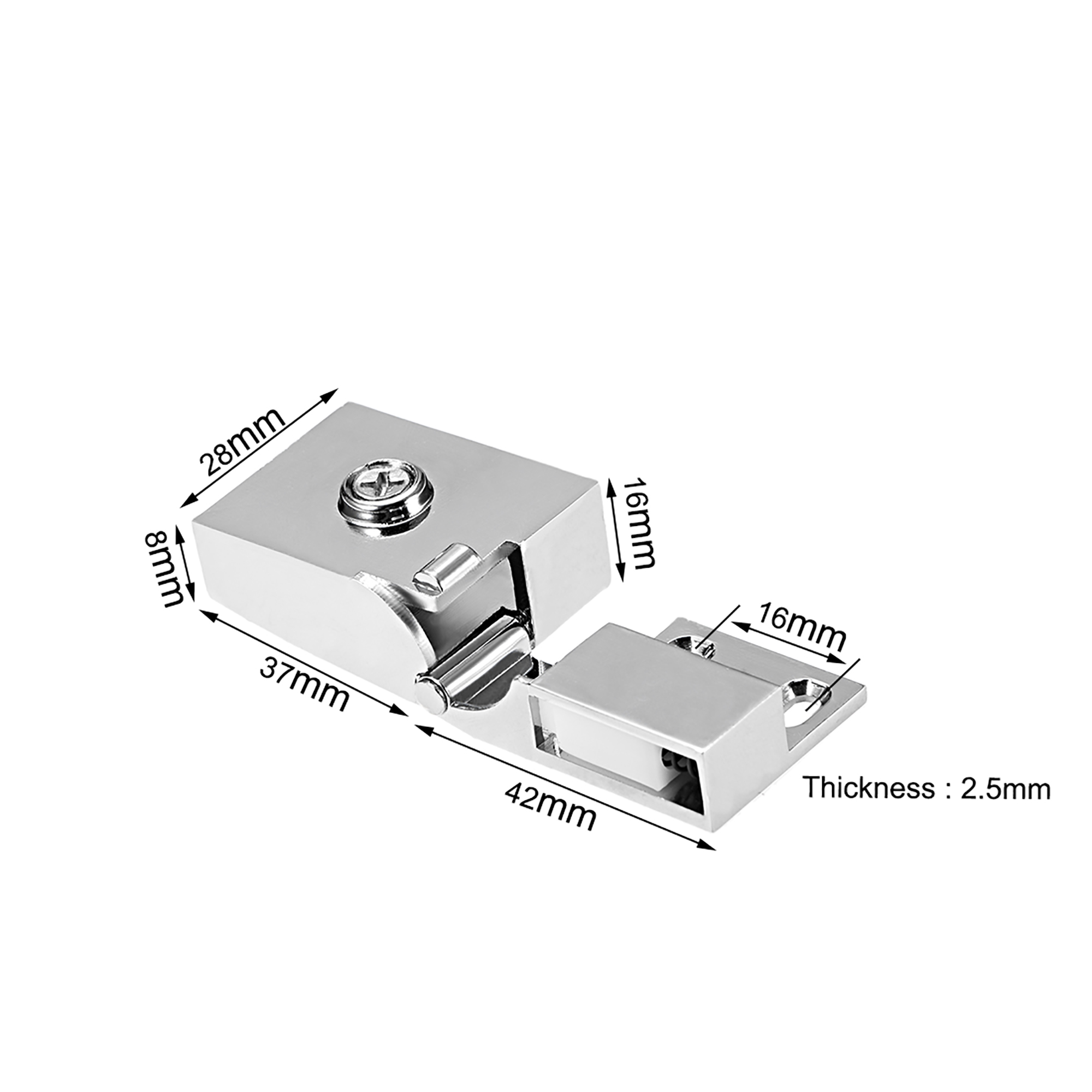 Uxcell 1Pair Glass Door Showcase Cabinet Door Hinge Glass Clamp for3-5mm Thickness - image 3 of 4