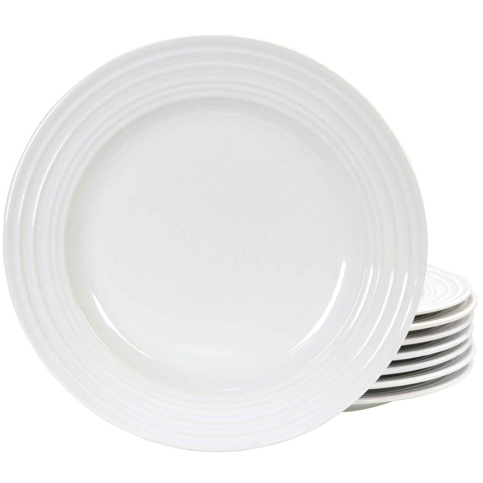 "Gibson Home Plaza Cafe 10.5"" White Stoneware Dinner Plate, Set of 8"