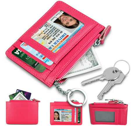 Tekcoo Leather Zip Credit Card Holder Wallet with ID Window Keychain RFID