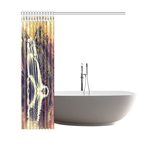 GCKG Vintage Autumn Landscape Shower Curtain, Waterfall and Lake Scene Polyester Fabric Shower Curtain Bathroom Sets with Hooks 66x72 Inches - image 1 of 3