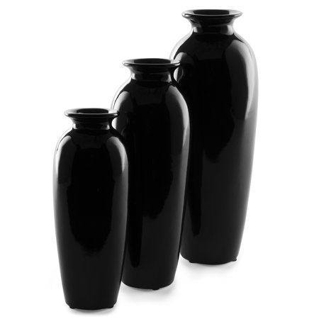 Black Ceramic Lever - Best Choice Products Set of 3 Decorative Modern Ceramic Table Vases Home Accents for Flowers, Dining, Side Tables w/ Assorted Sizes - Black