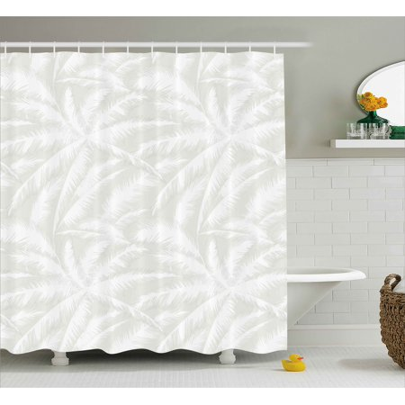 Abstract Shower Curtain, Sketchy Palm Leaves Jungle Foliage Tropical Eco Exotic Branch Artsy Design, Fabric Bathroom Set with Hooks, Green and White, by Ambesonne (Echo Shower Curtain)