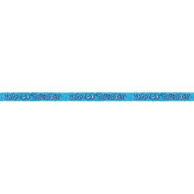 12ft Happy 80th Birthday Blue Sparkle Prismatic Party Foil Banner Decoration (80th Birthday Banners)