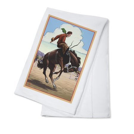 Bucking Bronco Embroidery (Bronco Bucking - Lantern Press Poster (100% Cotton Kitchen)