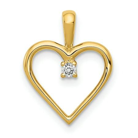 14K Yellow Gold Plated AA Diamond Heart