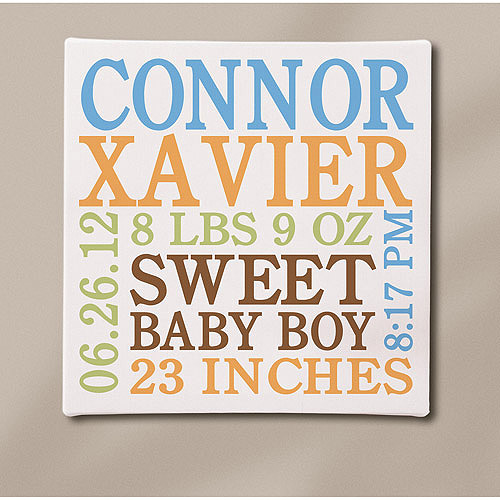 "Personalized Baby Info Canvas, Blue, 11"" x 11"""