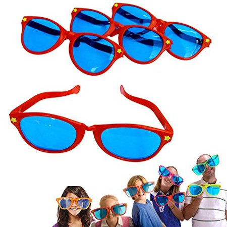 6 Pack Plastic Jumbo Blue Lens Sunglasses for Costumes or Photo Booth Props