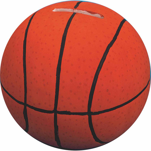 Color Me Basketball Bank Unglazed, Pack of 12