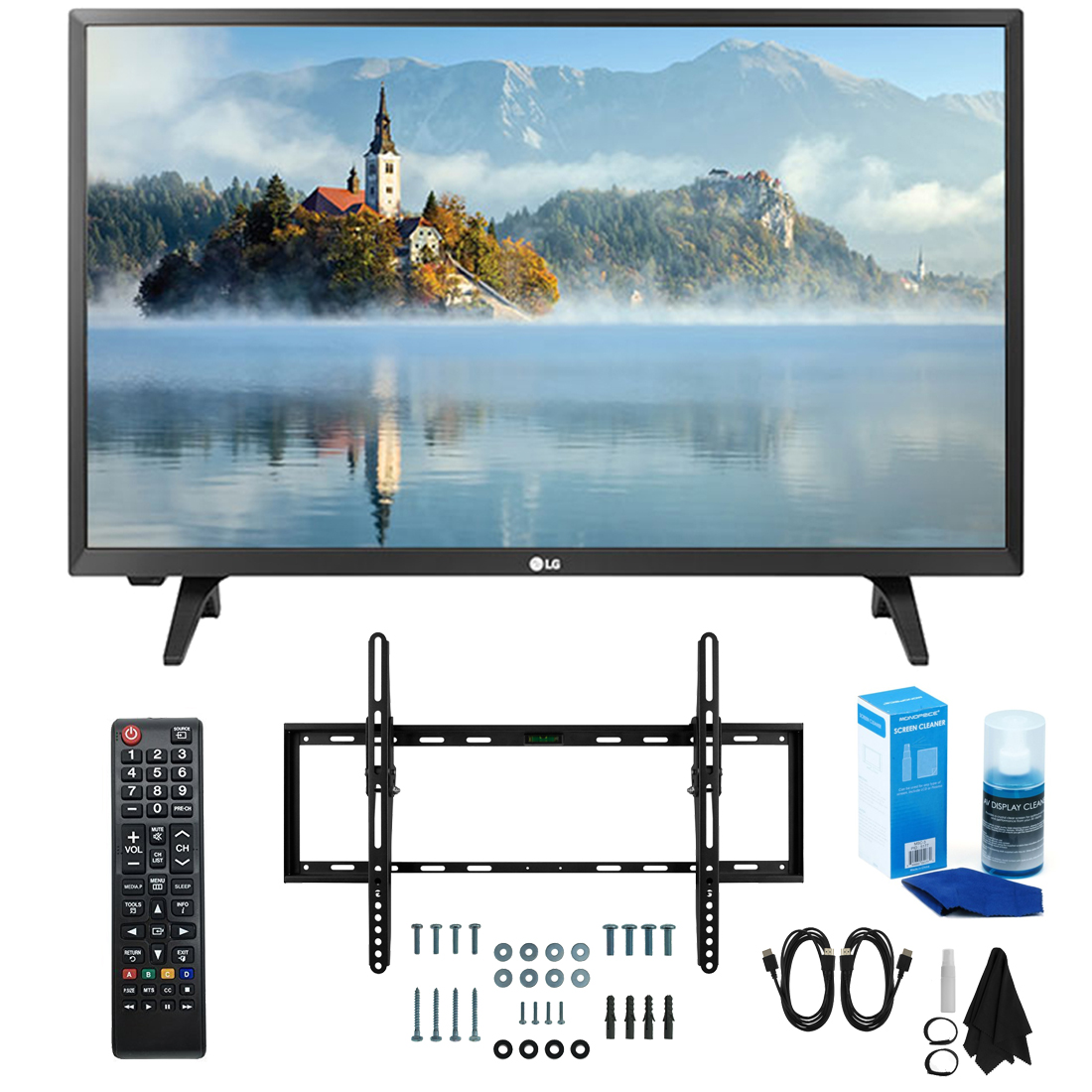 "LG 28LJ430B-PU 28"" Class HD 720p LED TV (2017 Model) with Slim Flat Wall Mount Kit and Professional Screen Cleaning Kit"