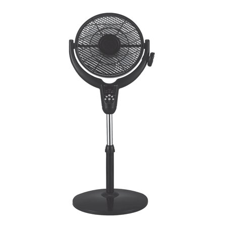 Optimus 14 Inch Louver Rotating Oscil Pedestal Air Circulator with Remote, LED and Timer